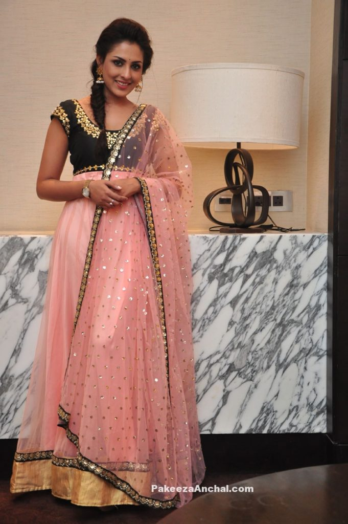 Actress Madhu-Shalini in Pink Long Frock Anarkali at Cheekatirajyam success meet-PakeezaAnchal.com