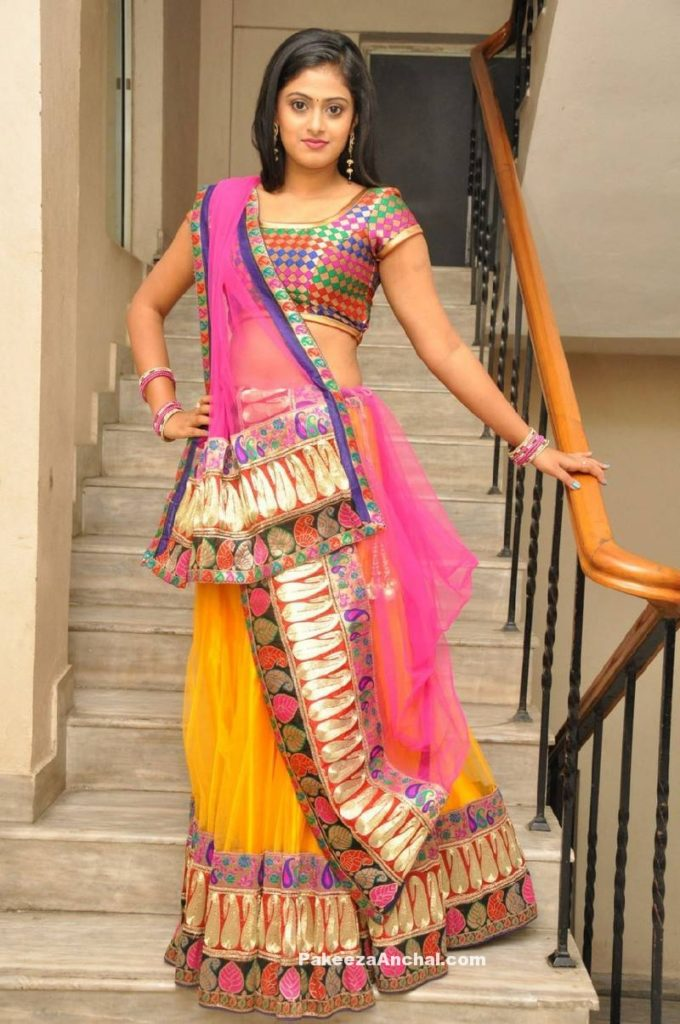 Actress Megha in Heavy Patch work Netted Lehenga with Backless Blouse-PakeezaAnchal.com