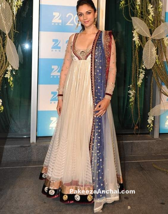 Aditi Rao Hydari in Anju Modi and Payal Singhal's Long Frock Floor Lenght Anarkali with Deep neck-PakeezaAnchal.com
