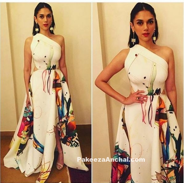 Aditi Rao Hydari in White One Shoulder Gown by Gauri and Nainika-PakeezaAnchal.com