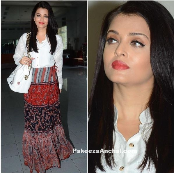 Aishrwaya Rai in Anjali Jani & Patine Wrap Skirt and Shirt-PakeezaAnchal.com