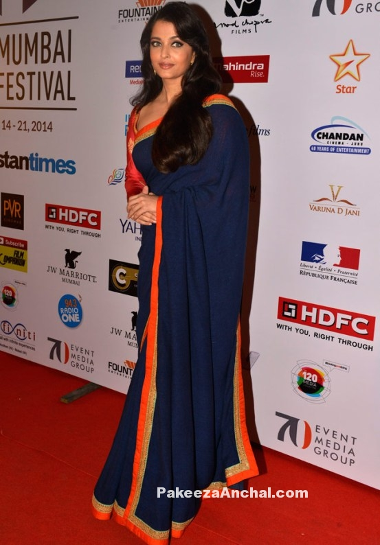 Aishwarya Rai bachan in Blue Sabyasachi Partywear Saree with full Sleeve Blouse-PakeezaAnchal.com