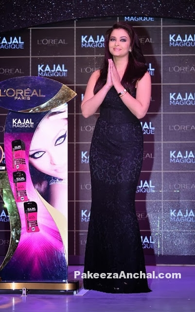 Aishwarya Rai in Black Dolce and Gabbana Lace Gown for L'Oreal product launch-PakeezaAnchal.com