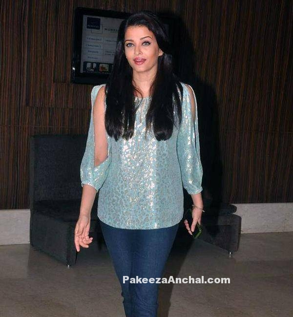 Aishwarya Rai in DVF Shoulder Cut out Top and tight Denim jeans-PakeezaAnchal.com