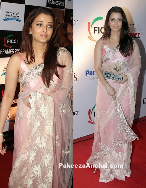 Aishwarya Rai in Manish Malohtra's pink Designer Embroidery Net Saree with Sleeveless Blouse-PakeezaAnchal.com