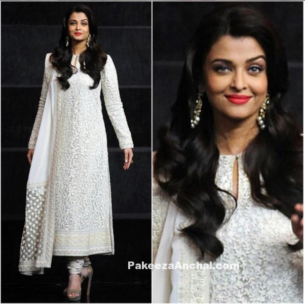 Aishwarya Rai in White  Sabyasachi anarkali at India's Got Talent-PakeezaAnchal.com