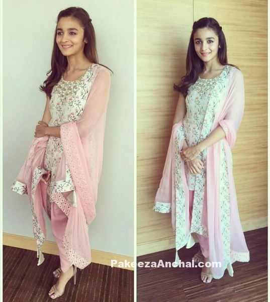 Alia Bhatt in Pink Churidar Salwar Suit by Payal Singhal-PakeezaAnchal.com