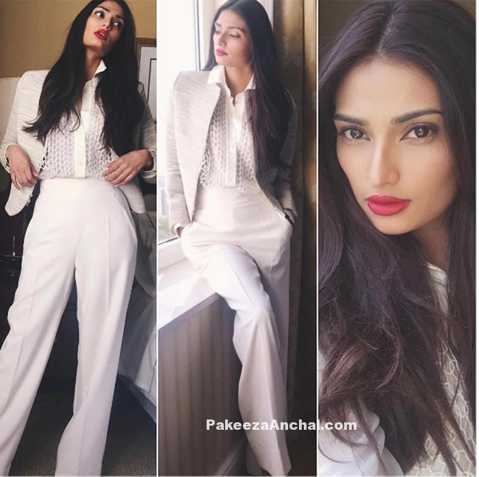 Athiya Shetty in White Jacket and Pant with Lace Blouse-PAkeezaAnchal.com