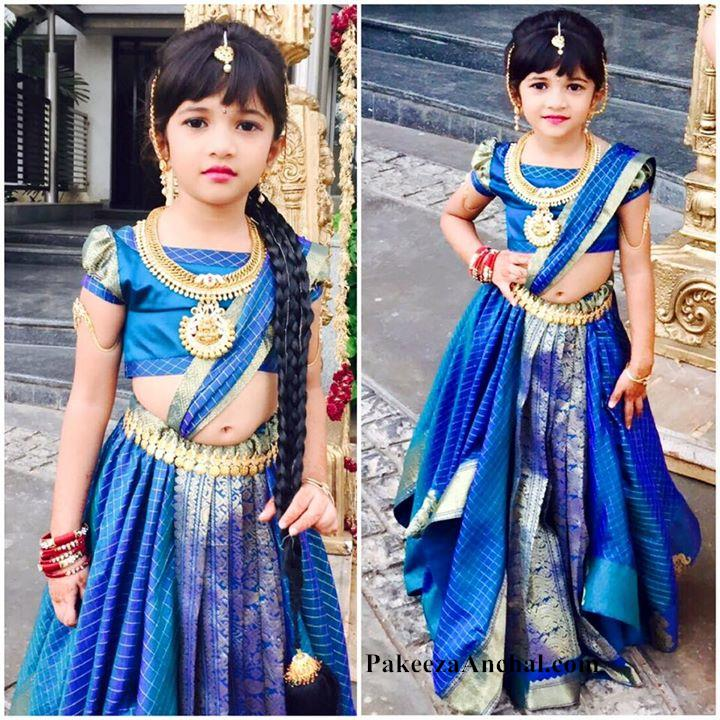 Baby in Lehenga Choli, Kids South Indian Fashion in Blue Lehenga PakeezaAnchal.com