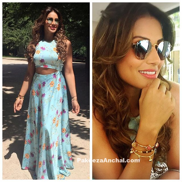 Bipasha basu in a tight fitted cut-out Maxi Dress