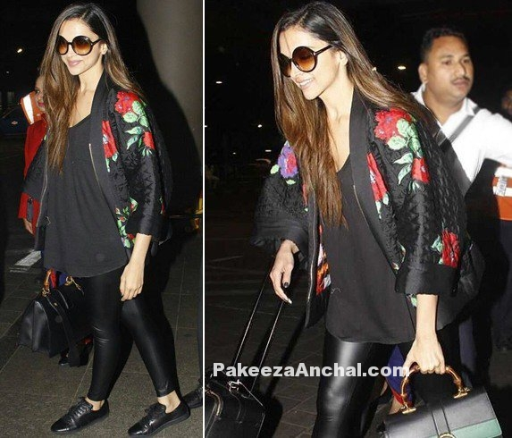 Deepika Padukone Airport look in leather pants
