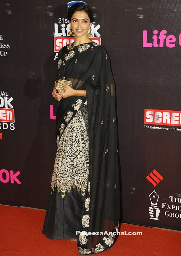 Deepika Padukone in Embroidered Black Lehenga Saree from Jade by Monica and Karishma-PakeezaAnchal.com