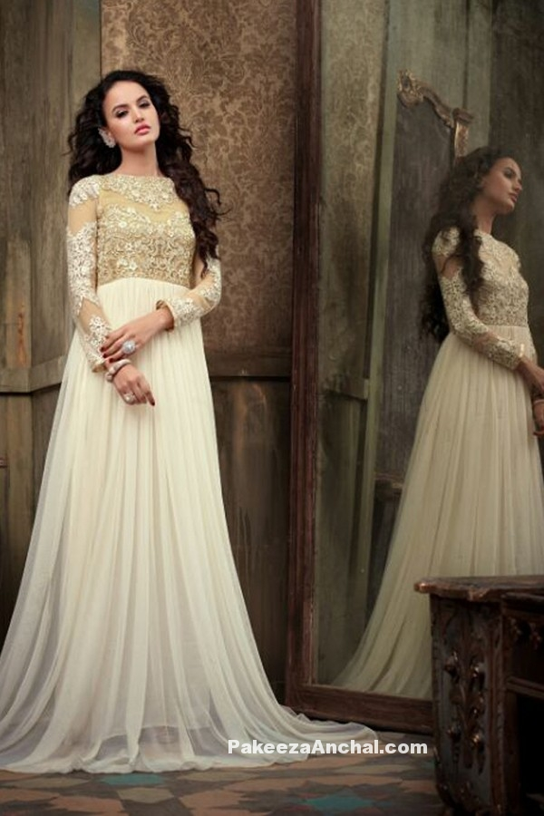 Designer Anarkali embroidered Party Wear Dress with beige Yoke-PakeezaAnchal.com