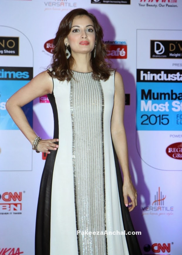 Dia Mirza in Shiny Sleeveless Maxi Dress by Rohit Gandhi & Rahul Khanna-PakeezaAnchal.com