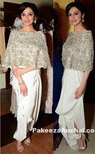 Divya Khosla in embellished Cape and draped white Pants by Anamika Khanna