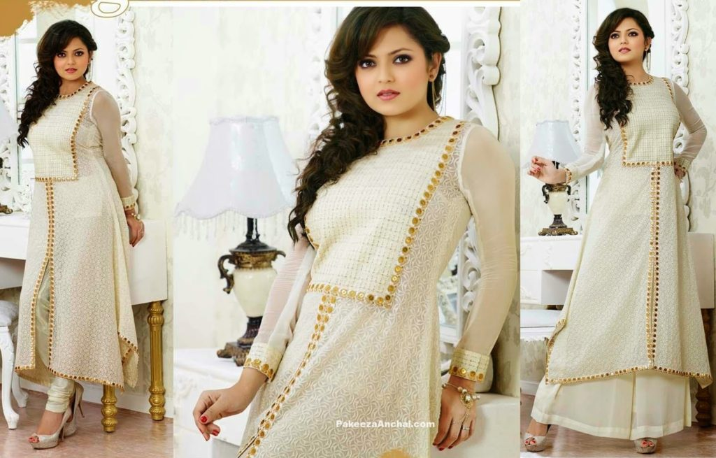 Drashti Dhami in white Designer Georgette Salwar Suit with Embroidery-PakeezaAnchal.com