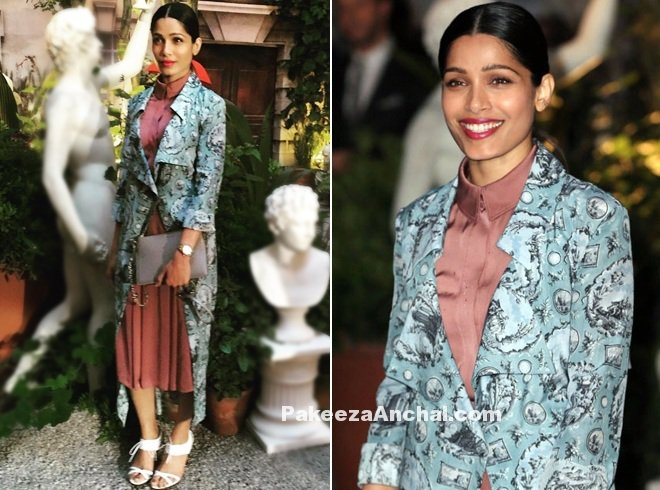 Frieda Pinto dressed in Burberry from Fall 2016 Collection