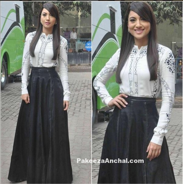 Gauhar Khan in AM PM Full lenght Skirt and Top