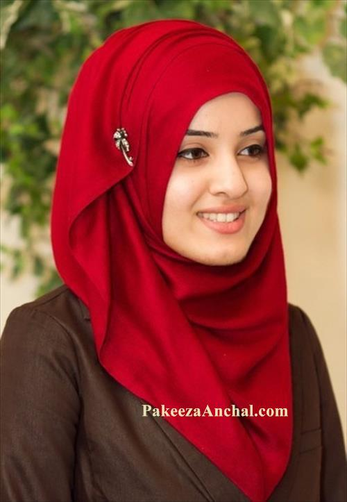 Girls in Hijab, New trendy Style Hijab Fashion for Girls-Red-PakeezaAnchal.com