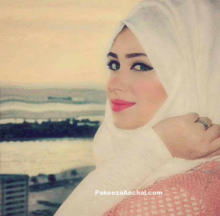 Hijab DP for Girls, DP for Muslim Girls Profile Pics-White Scarf-PakeezaAnchal.com