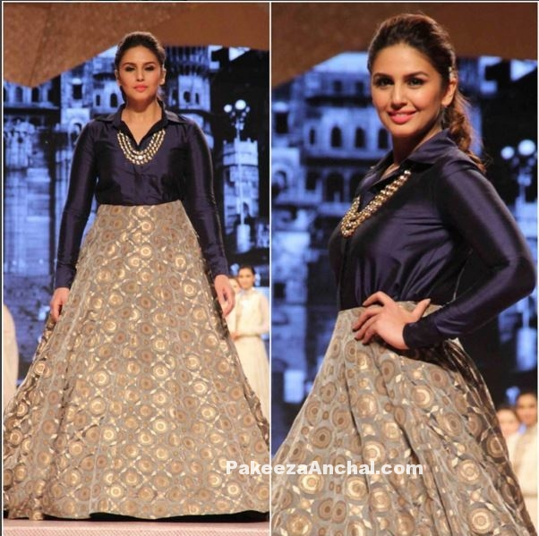 Huma Qureshi in Blue Silk Shirt with Golden lehenga by Manish Malhotra