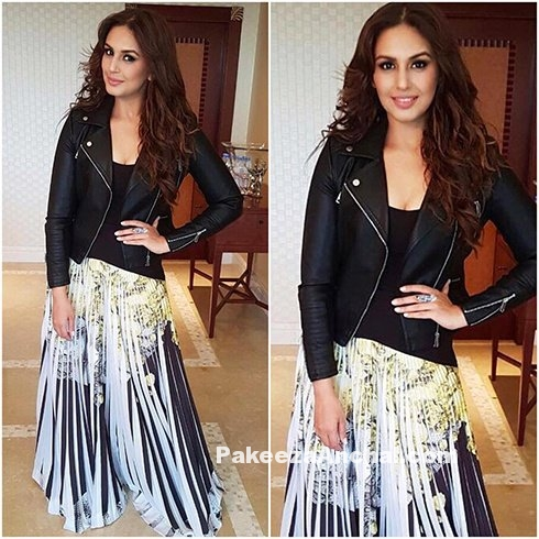 Huma Qureshi in Pleated Maxi with Leather Jacket-PakeezaAnchal.com