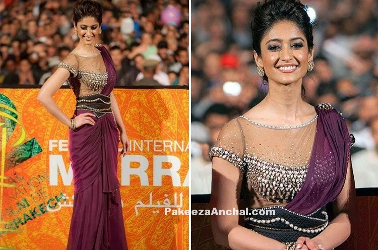 Ileana De Cruz in lovely Sheer Net Blouse Design and Saree Style gown
