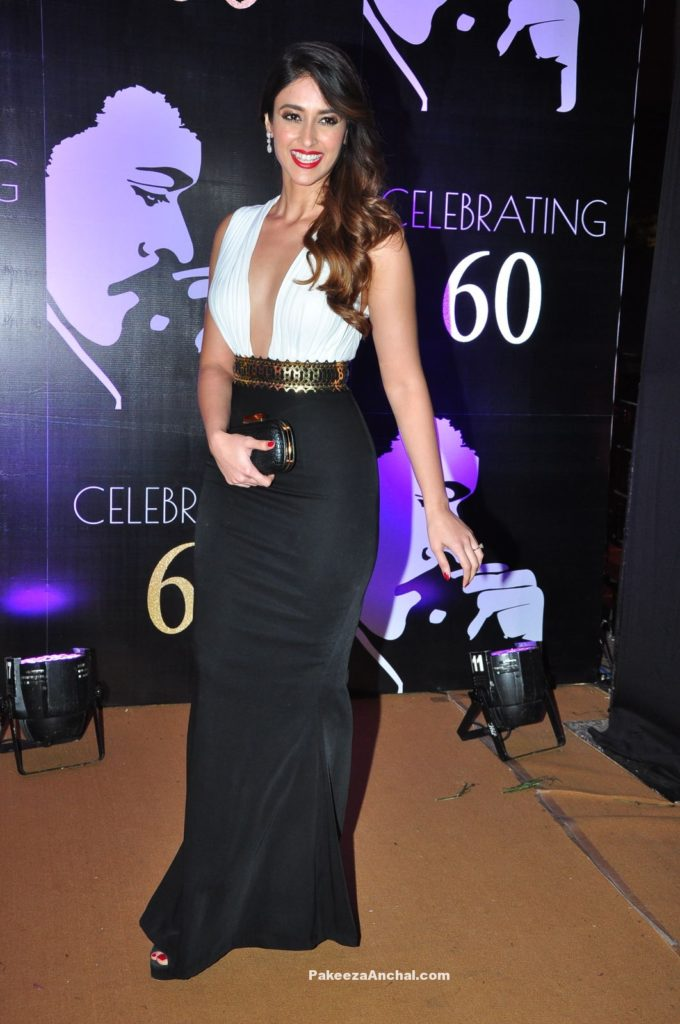 Ileana wearing a White and Black Gown at Superstar Chiranjeevi's 60th Birthday Celebrations PakeezaAnchal.com