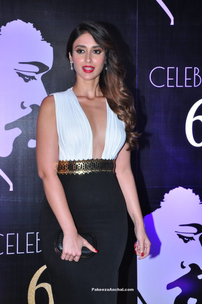 Ileana wearing a White and Black Gown at Superstar Chiranjeevi's 60th Birthday Celebrations-PakeezaAnchal.com