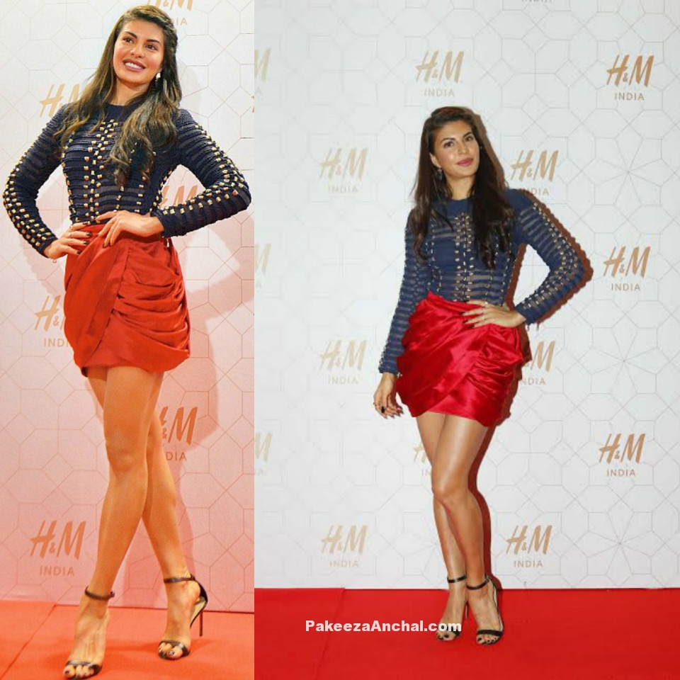Jacqueline Fernandez in H&M Blue Shirt and Blooming Red Drape Skirt-PakeezaAnchal.com
