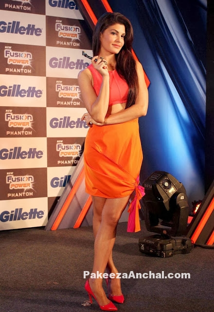Jacqueline Fernandez in Orange Skirt at Gilette Launch