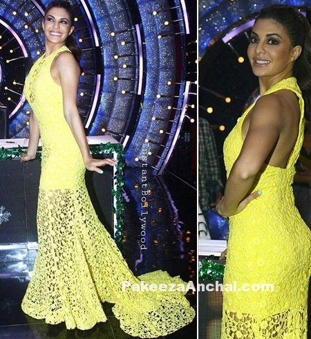 Jacqueline Fernandez in Yellow sleeveless Halterneck Dress