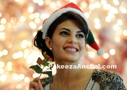 Jacqueline Fernandez Wearing a Santa Red Cap for Christmas 2015-PakeezaAnchal.com