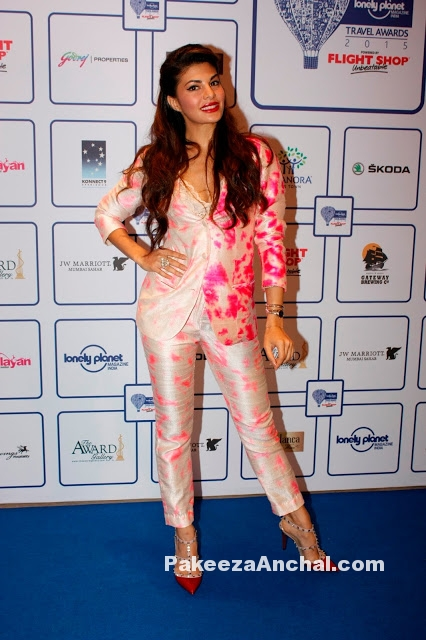 Jaqueline Fernandez in Akanksha Gajria's Neon Pink Suit at Lonely Planet Awards