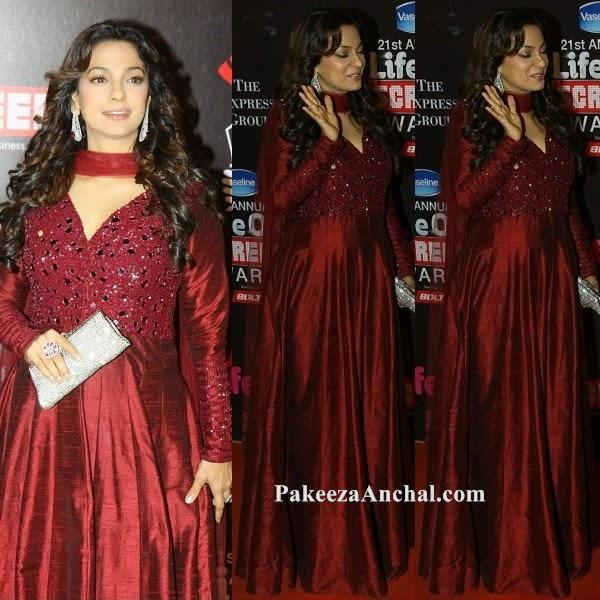 Juhi Chawla in Maroon Long Forck Anarkali Suit at Life Screen Awards-PakeezaAnchal.com
