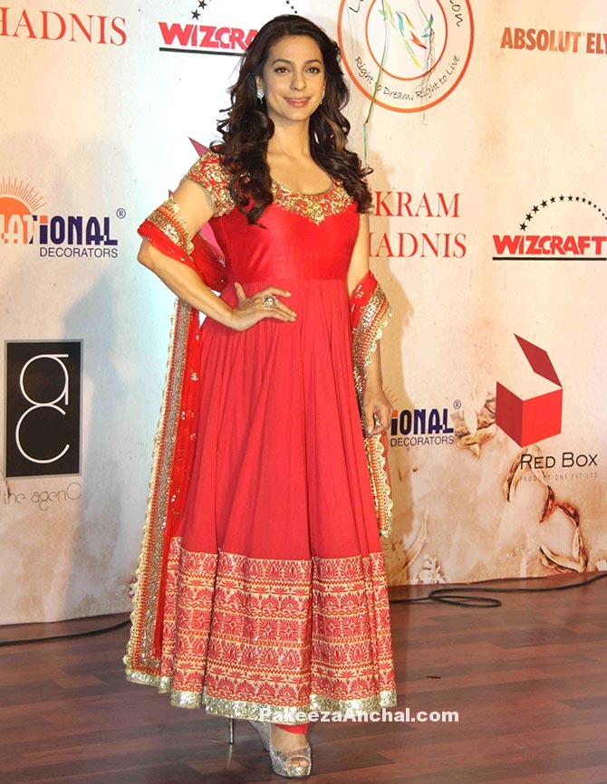 Juhi Chawla in Red Netted with Gold Embroidery Churidar by Vikram Phadnis-PakeezaAnchal.com