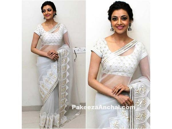 Kajal Agarwal in Sheer White Saree & Brocade Blouse