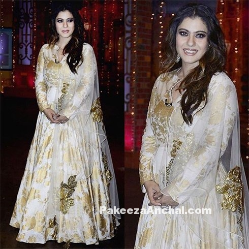 Kajol in White Floor Length Outfit by Bhumika Sharma