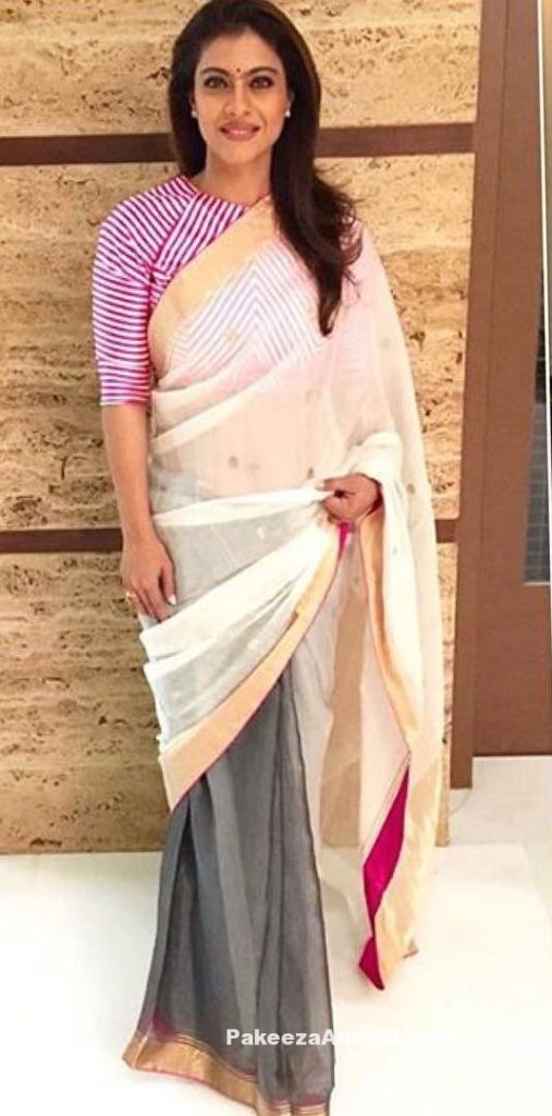 Kajol wearing a Tranparent Double Color Saree with Full Sleeve Blouse by Raw Mango-PakeezaAnchal.com