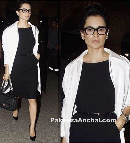 Kangana Ranaut in Dolce & Gabbana Black Skirt with Bulgari Handbag at Airport-PakeezaAncal.com