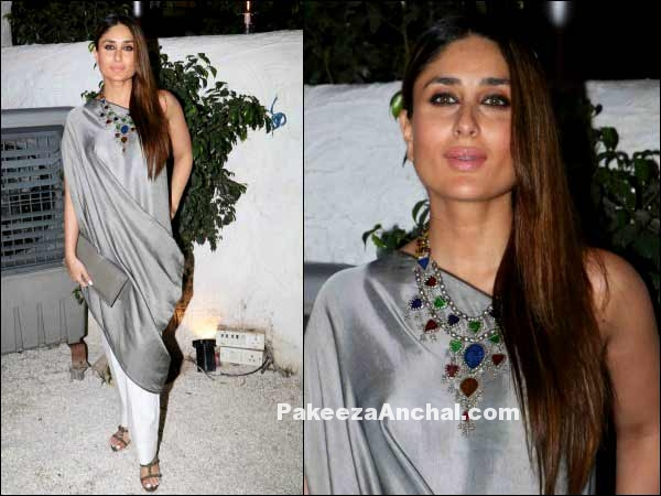 Kareena Kapoor in One Shoulder Grey Tunic by Payal Khandwala-PakeezaAnchal.com