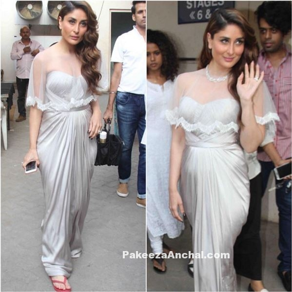 Kareena Kapoor in silver strapless gown with a Net cape