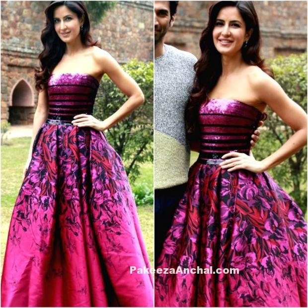 Katrina Kaif in Pink Printed Flare Gown by Georges Chakra-PakeezaAnchal.com