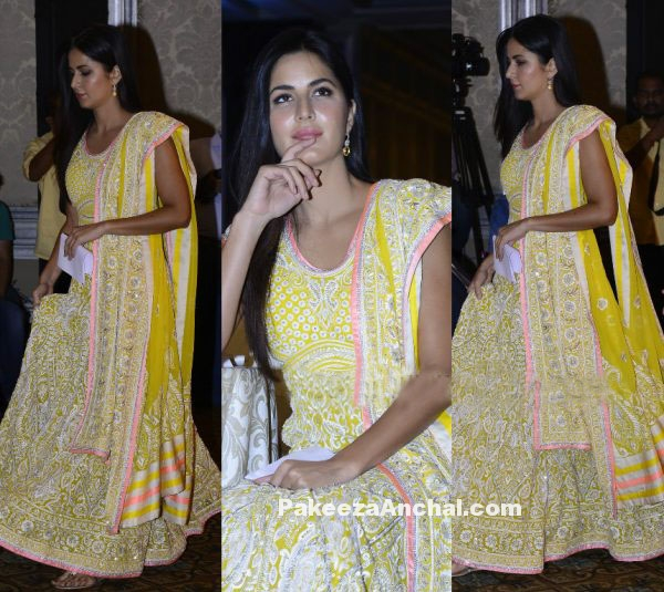 Katrina Kaif in WeUnite Yellow Embroidered Lehenga-PakeezaAnchal.com