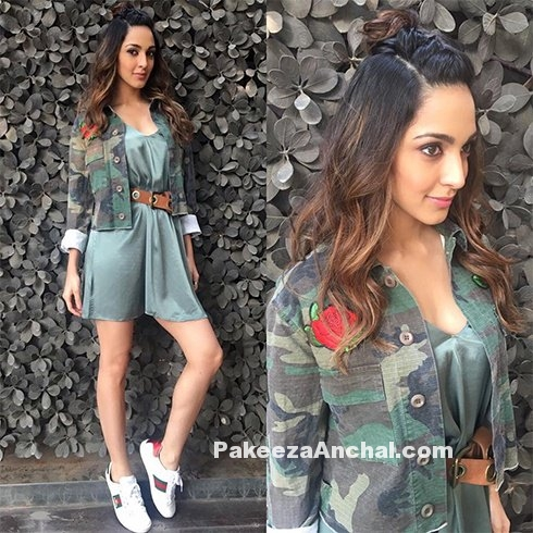 Kiara Advani in H&M Skirt & Military Jacket-PakeezaAnchal.com