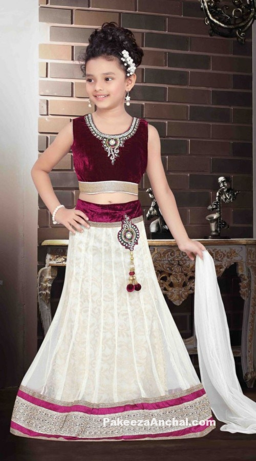 Kids Lehenga Choli Designs, Designer Velvet Lehenga Choli for Children-PakeezaAnchal.com