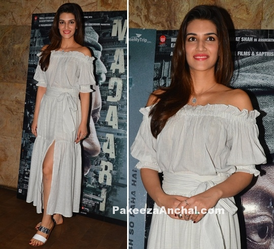 Kriti Sanon in Off Shoulder dress by Madison-PakeezaAnchal.com