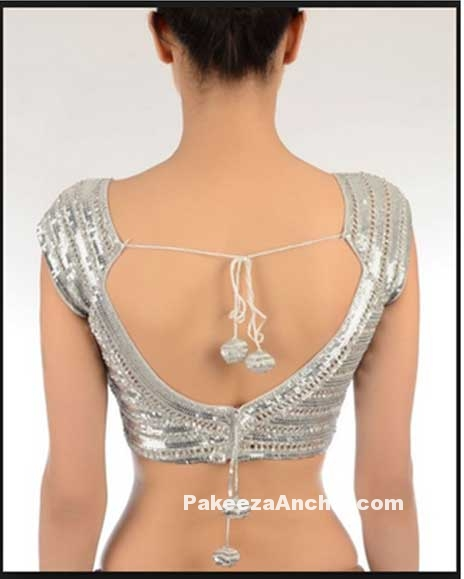 Latest V Neck shimmering Silver Bliouse Back Design for Women-PakeezaAnchal.com