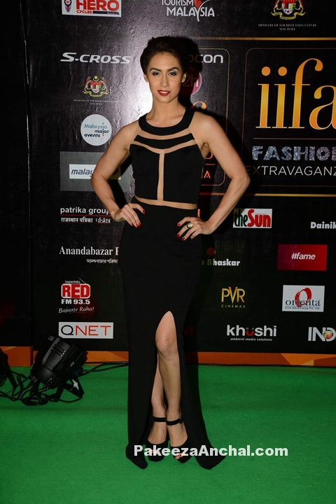 Lauren Gottlieb in Black Cut Out Slit Backless Gown at IIFA Awards-PakeezaAnchal.com