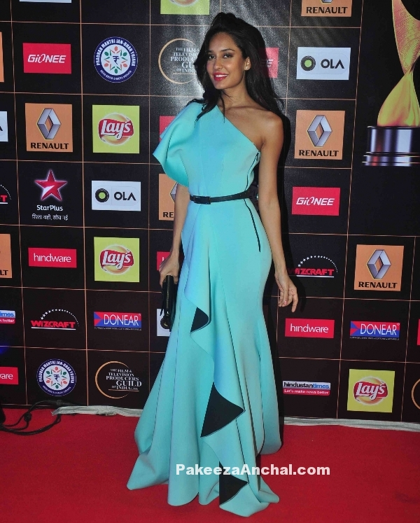 Lisa Haydon in Gauri & Nainika's One Shoulder Gown at Star Guild Awards 2015-PakeezaAnchal.com